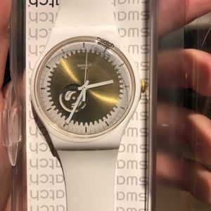 Swatch white rubber strap watch with gold face